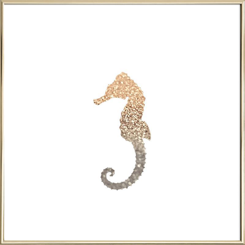 Glitter Gold Seahorse Poster im Alurahmen | Dekoration > Bilder und Rahmen > Poster