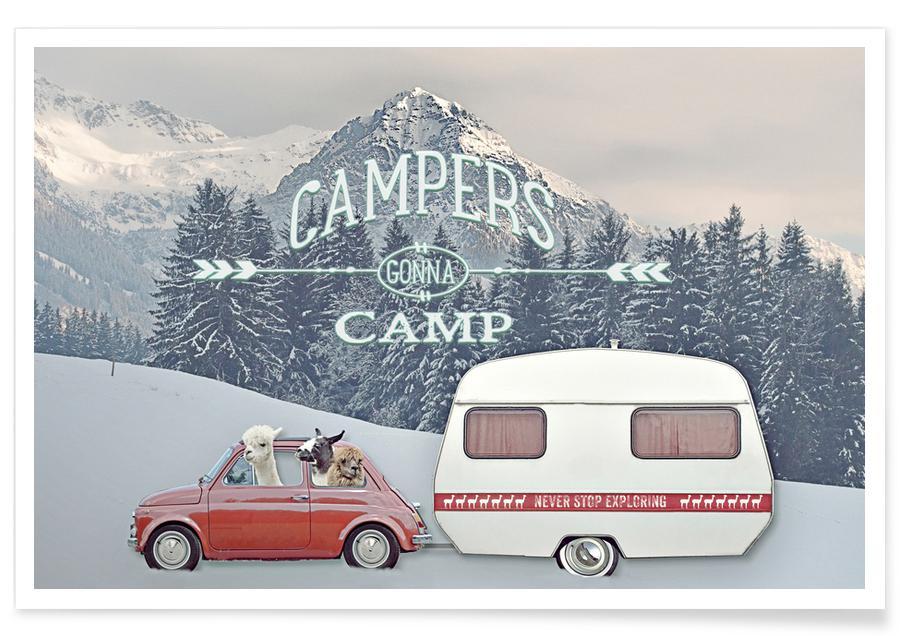 Never Stop Exploring Winter Camping Premium Poster