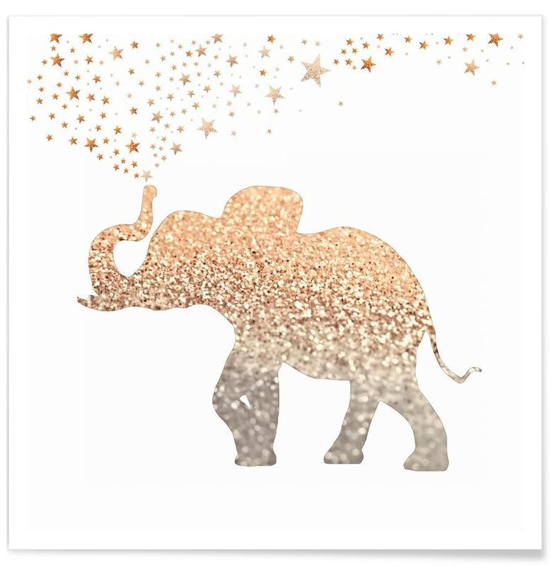 Gold Elephant Poster