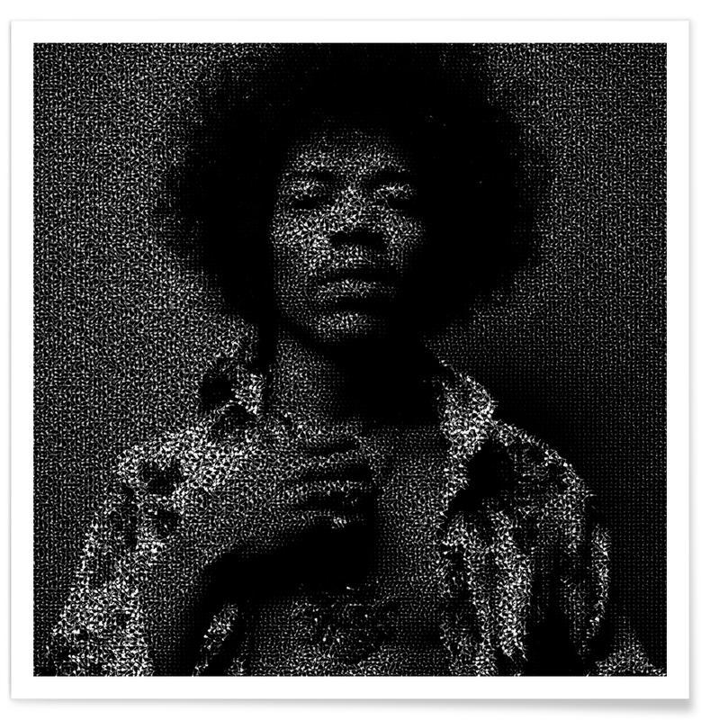 Jimi Hendrix Pointillism Poster