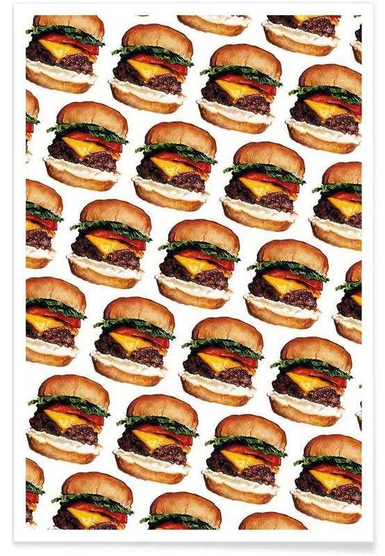 Cheeseburger Pattern Poster