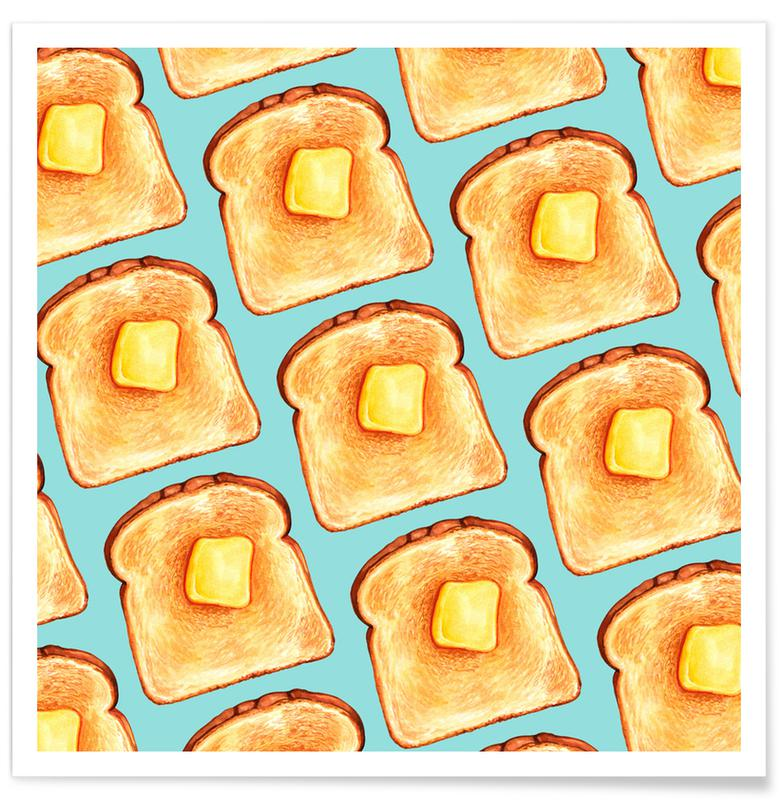 Breakfast Pattern Blue Toast Poster