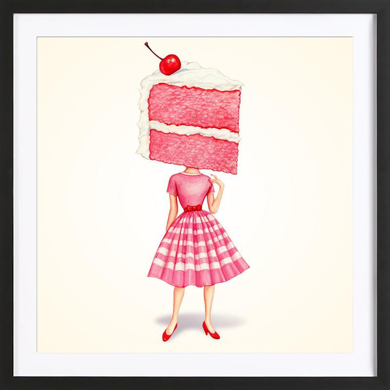 Cake Heads Cherry -Bild mit Holzrahmen