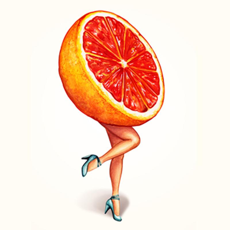 Fruit Girls Grapefruit canvas doek