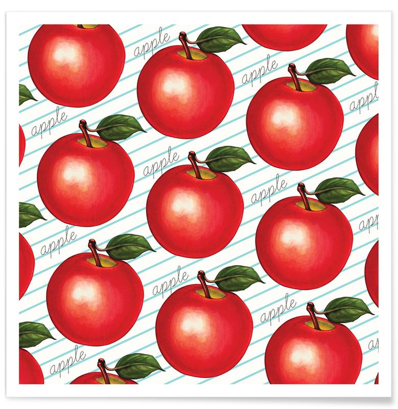 Lunch Patterns Apple Ruled Poster
