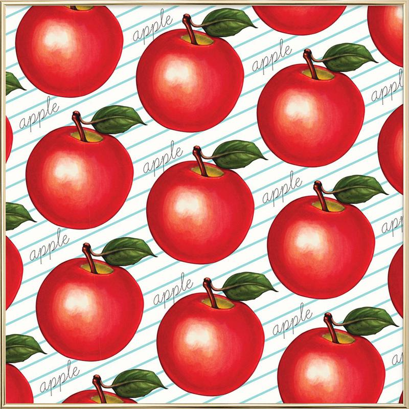 Lunch Patterns Apple Ruled Poster in Aluminium Frame