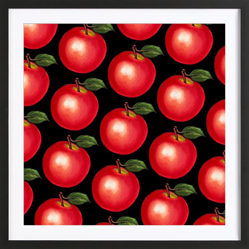 Lunch Patterns Apple Black Framed Print