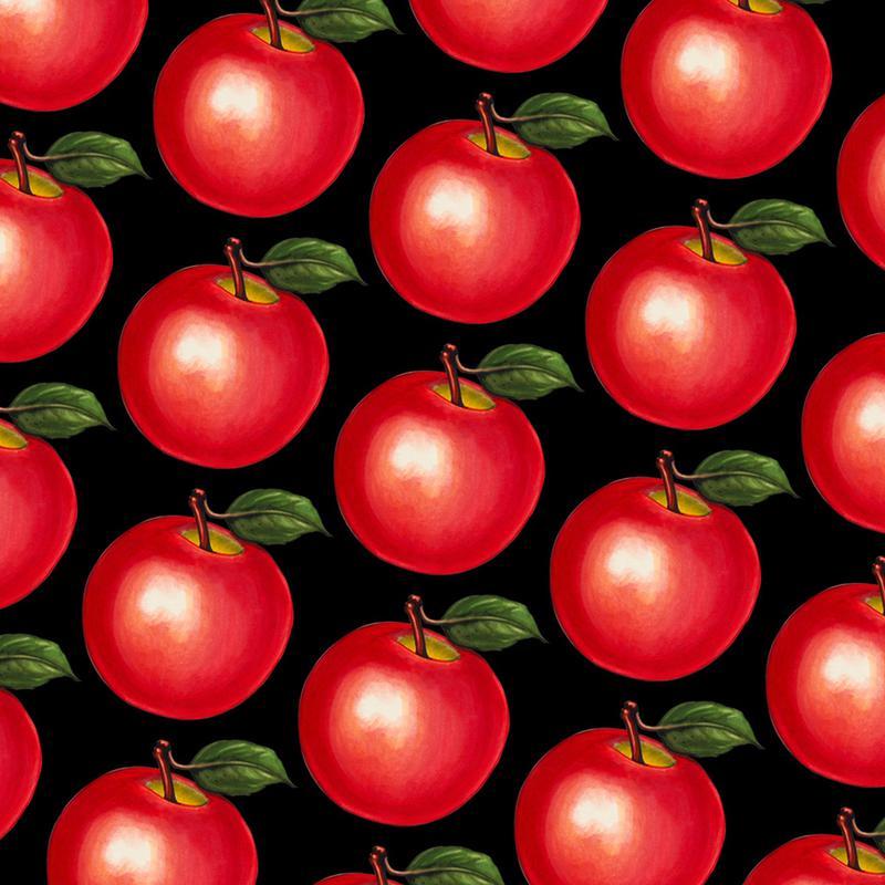 Lunch Patterns Apple Black -Leinwandbild