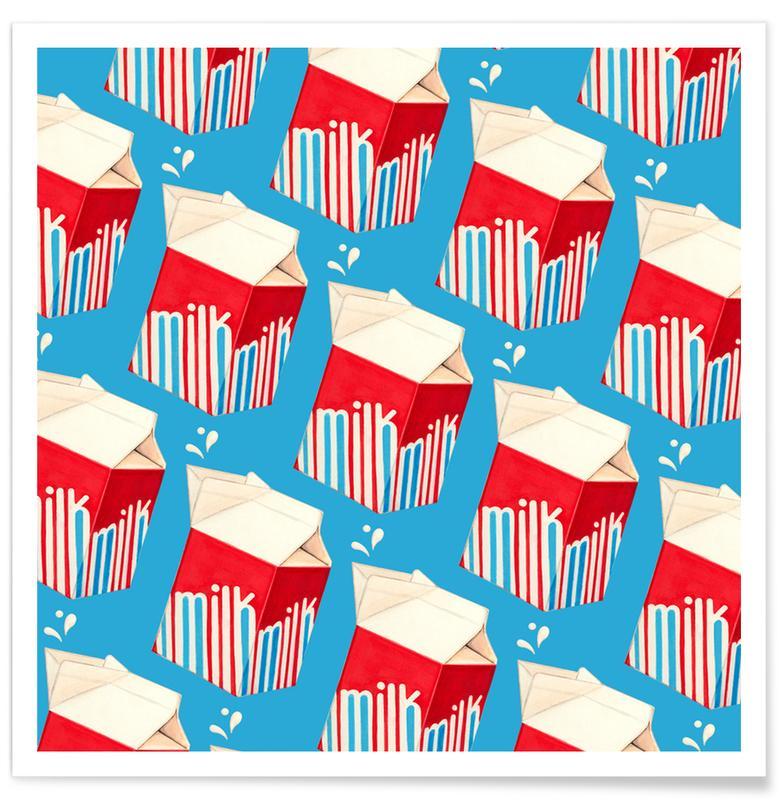 Lunch Patterns Milk Blue Poster