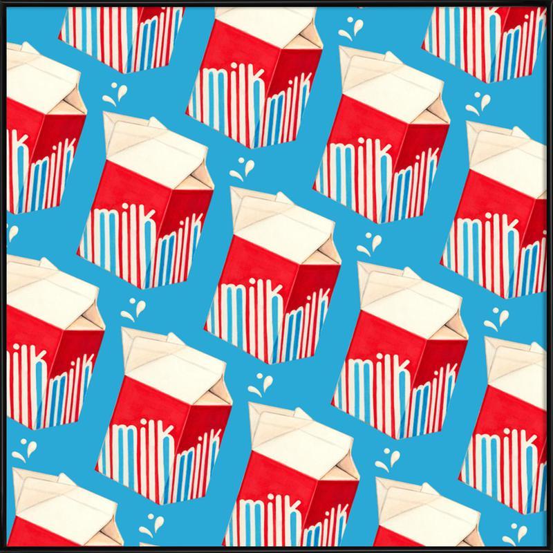 Lunch Patterns Milk Blue Framed Poster