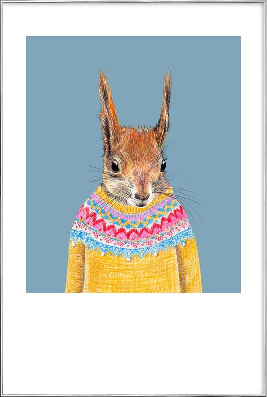 Hörnchen im Pullover -Poster im Alurahmen
