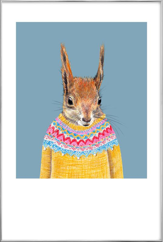 Hörnchen im Pullover Poster in Aluminium Frame