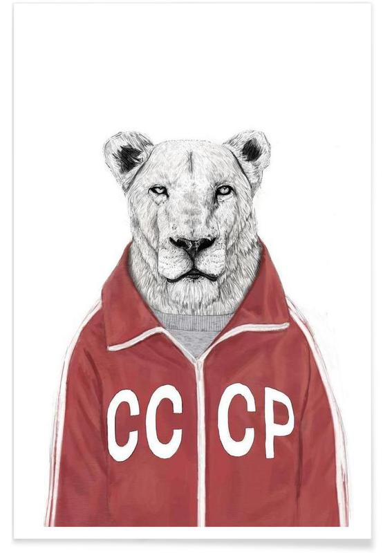 Soviet Lion Drawing Poster