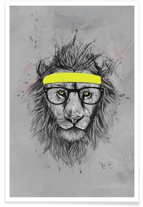 Lion hipster - Dessin affiche