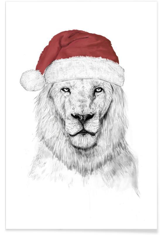 Santa Lion Drawing Poster