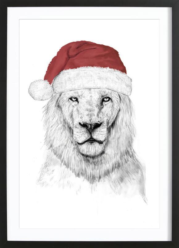 Santa Lion 2 -Bild mit Holzrahmen