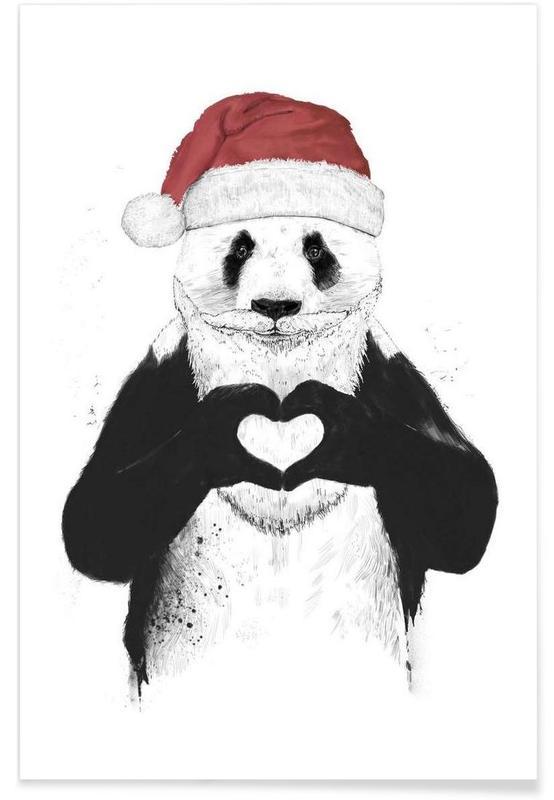 Père Noël Panda Dessin Affiche