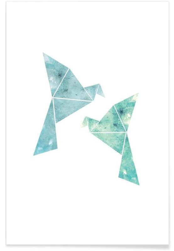 Vögel in Wasserfarbenoptik Poster