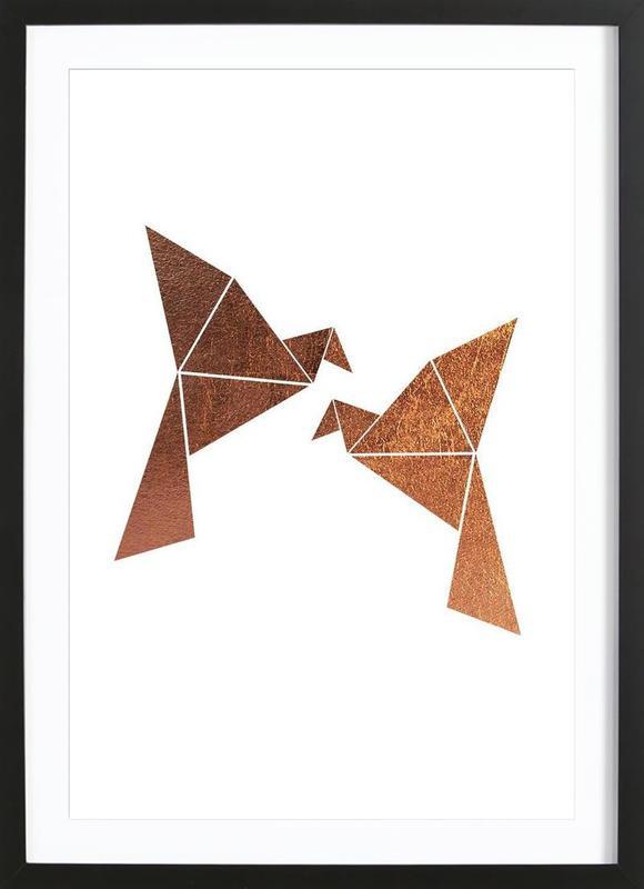 Vogel Kupfer Premium Poster gerahmt
