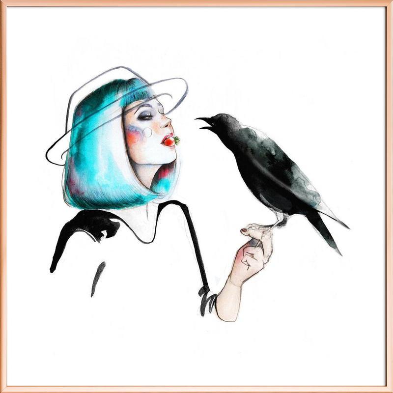 Crow poster in aluminium lijst