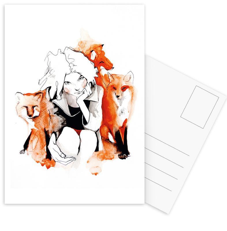 Foxy Postkartenset | Dekoration > Accessoires | Mehrfarbig