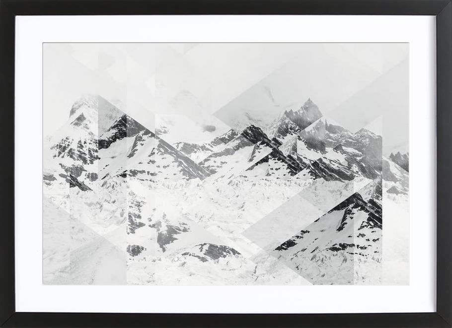 Perito Moreno BW Scattered Premium Poster gerahmt | Dekoration > Bilder und Rahmen > Poster | Mehrfarbig