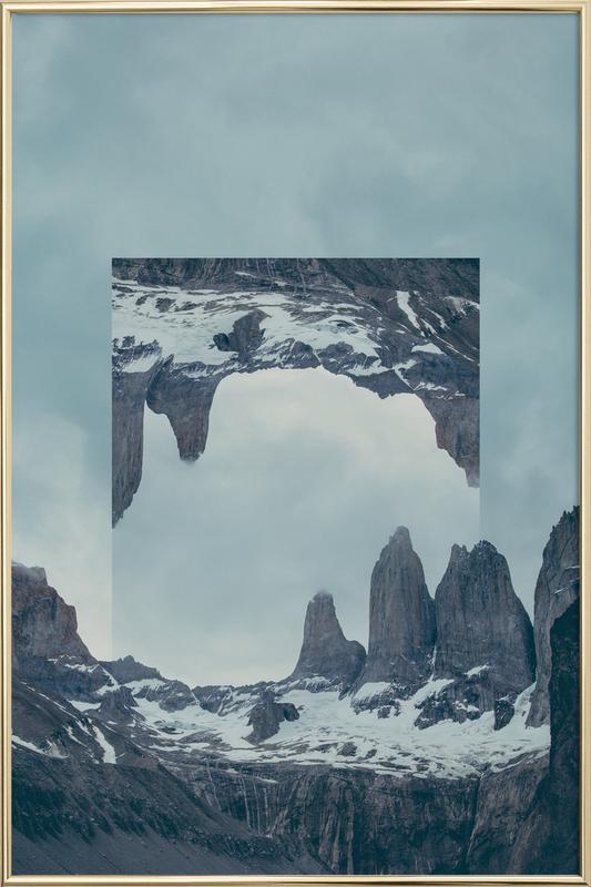 Mirrored 2 Torres del Paine Poster in Aluminium Frame