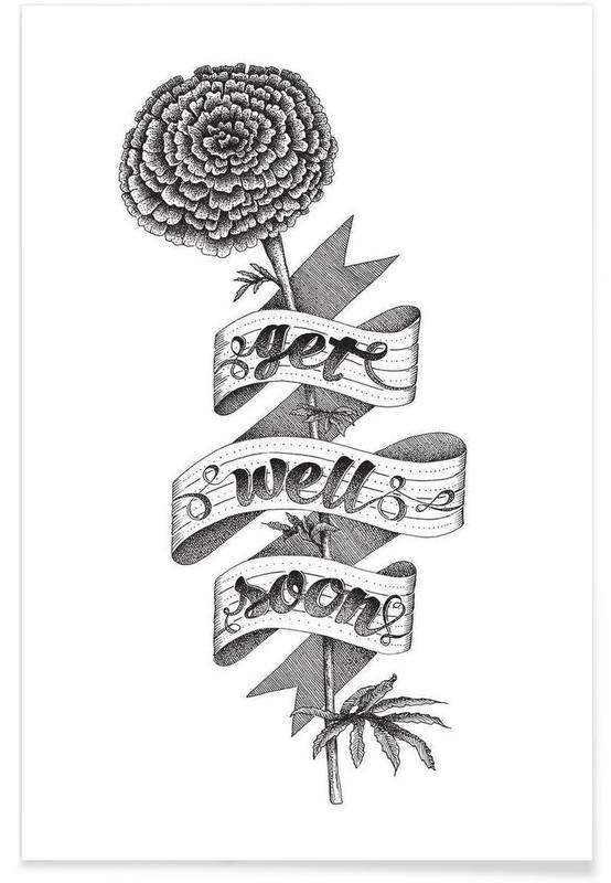 Get well soon hand-lettering -Poster