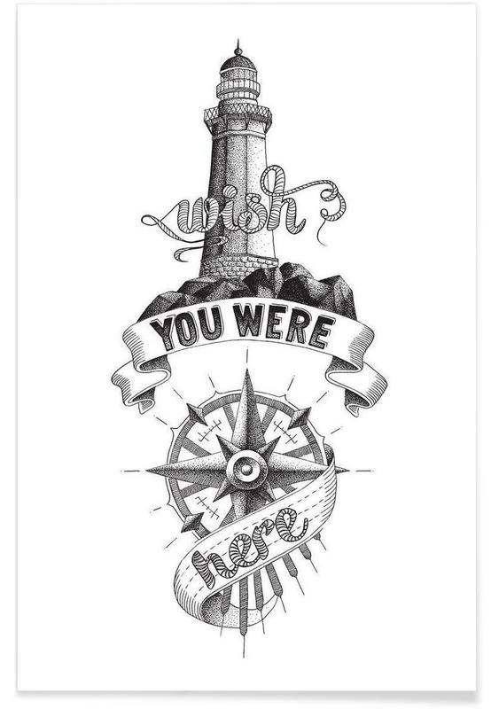 Wish you were here hand-lettering Poster