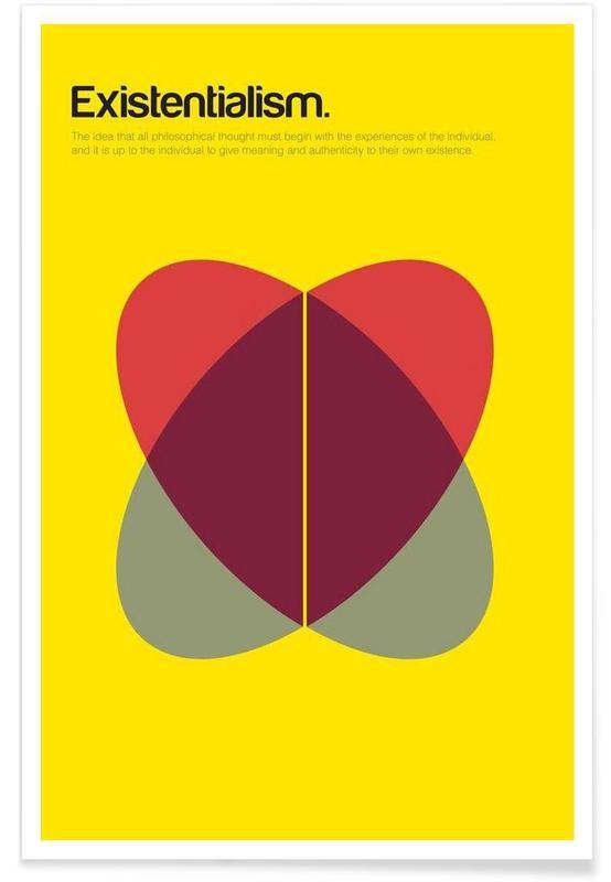 Existentialisme - Definition minimaliste affiche
