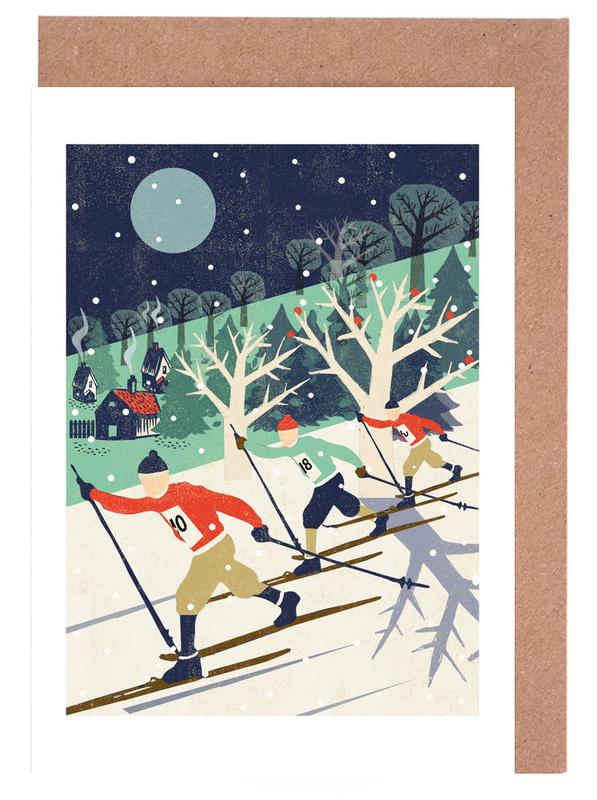 Skiers -Grußkarten-Set