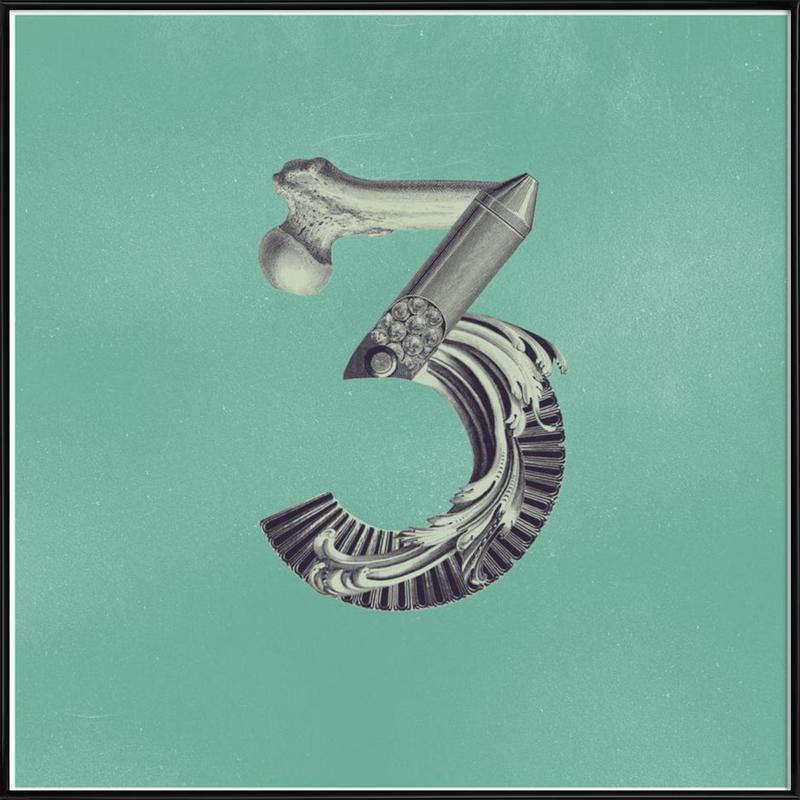 Steampunk Alphabet Number 3 ingelijste poster