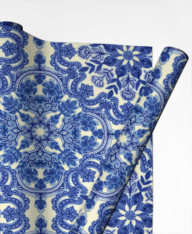 Blue & White Folk Art Pattern -Geschenkpapier