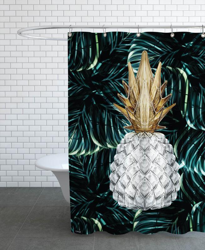 Ananas Gold Duschvorhang | Bad > Duschen | Mehrfarbig | Polyester