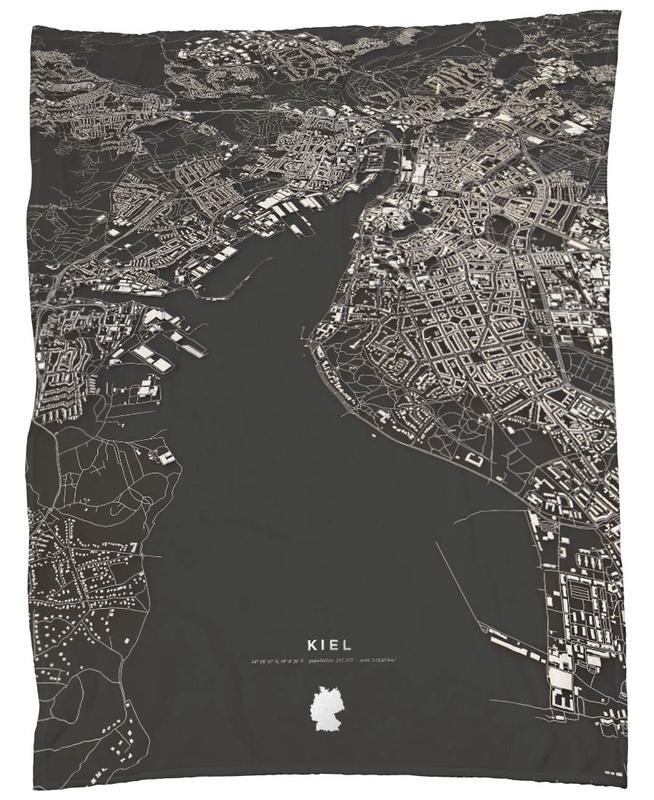 Kiel City Map Fleecedecke