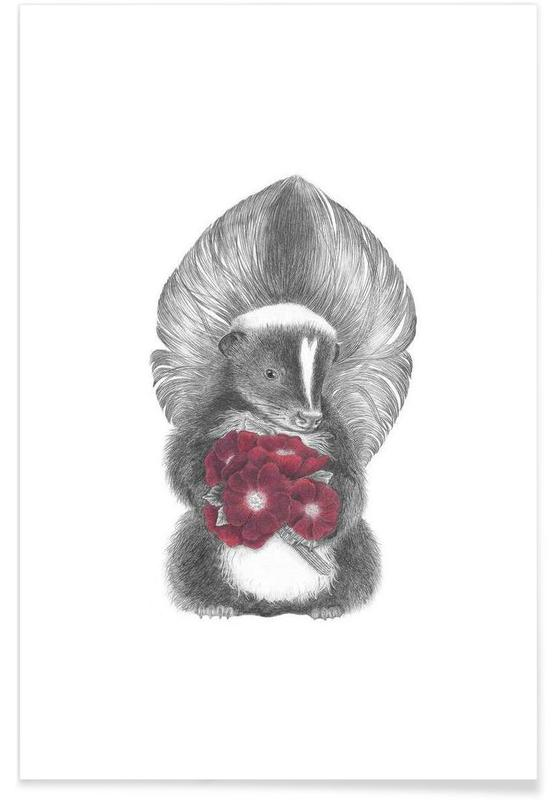 Skunk Drawing Poster