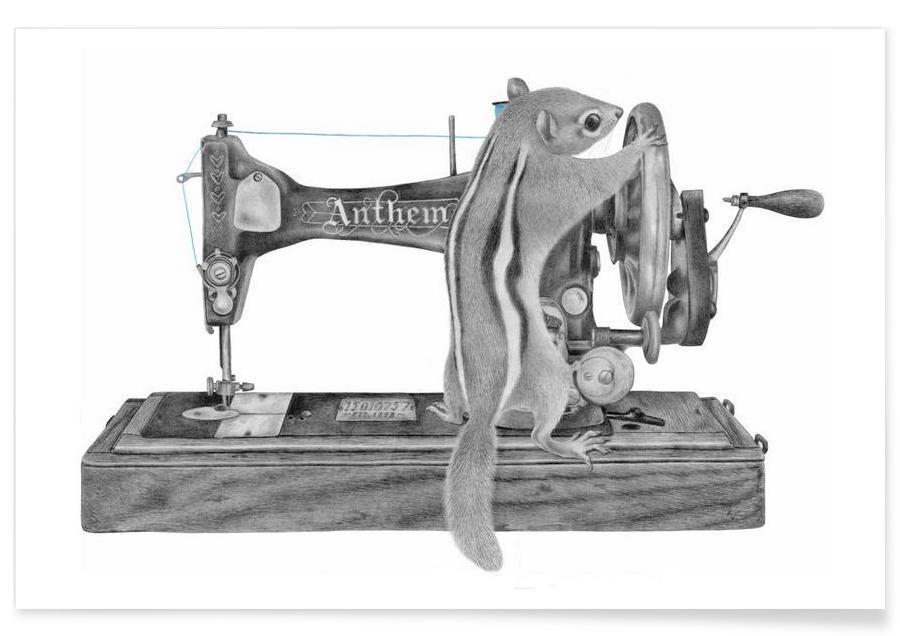 Machine à coudre - Dessin affiche