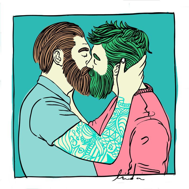 Men Kiss 2 Canvas Print