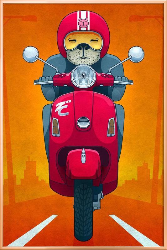 Vespa -Poster im Alurahmen
