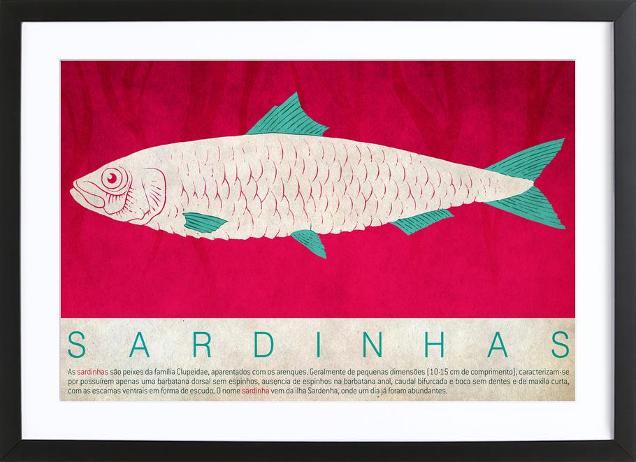 Sardinhas -Bild mit Holzrahmen