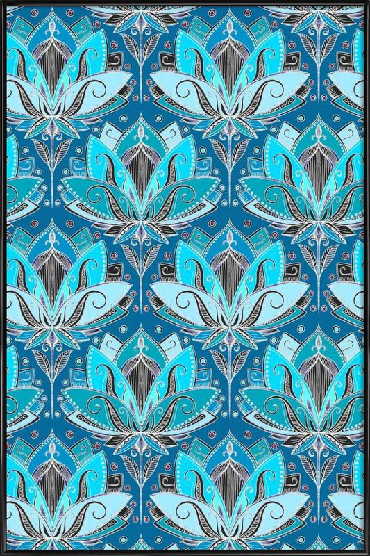 Art Deco Teal Lotus Pattern -Bild mit Kunststoffrahmen