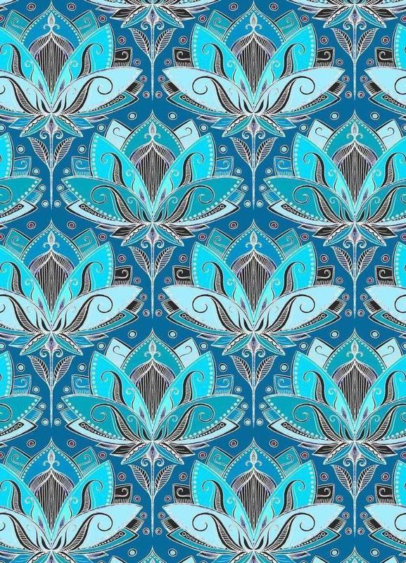 Art Deco Teal Lotus Pattern canvas doek