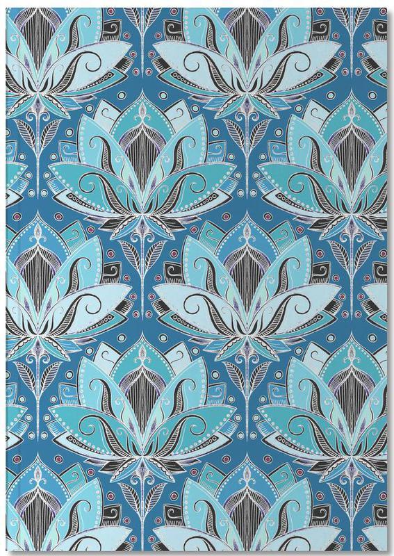 Art Deco Teal Lotus Pattern Notebook