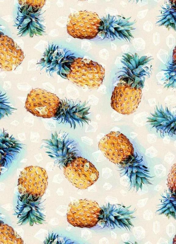 Pineapples + Crystals canvas doek