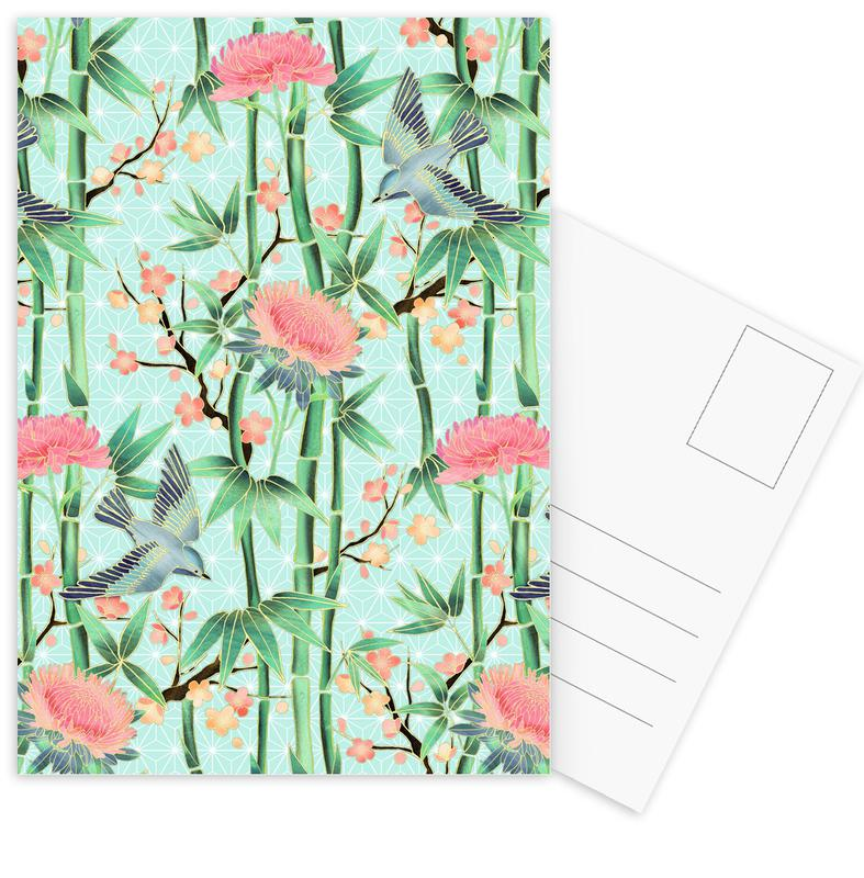 Bamboo Birds and Blossom Mint Postcard Set