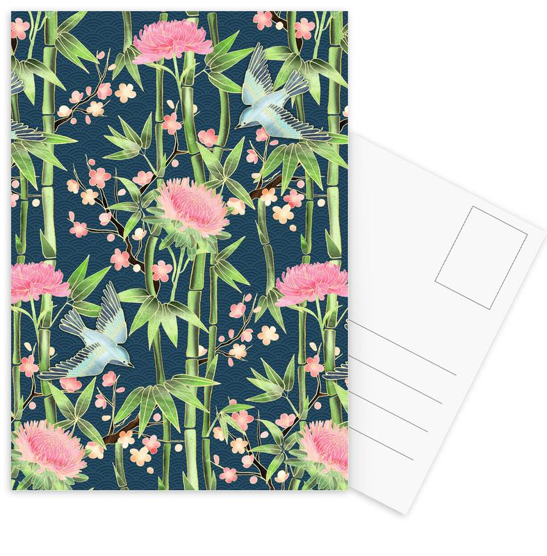 Bamboo Birds and Blossom Teal Postcard Set