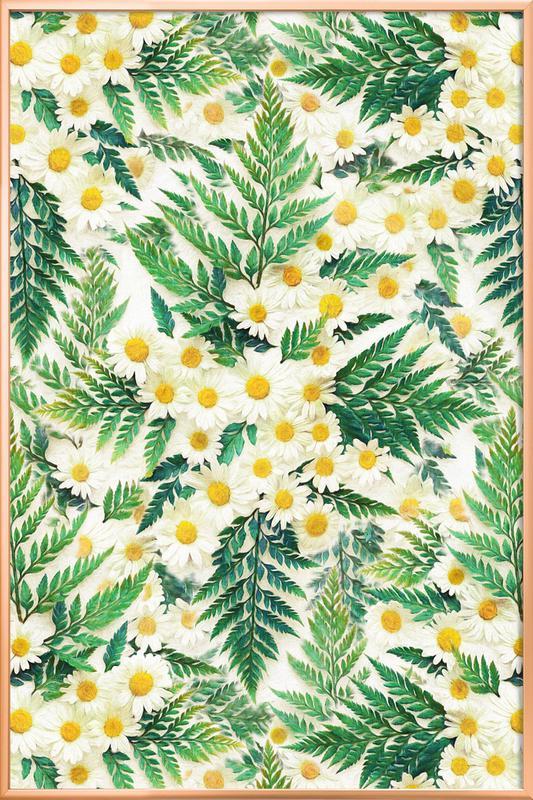 Textured Vintage Daisy And Fern -Poster im Alurahmen