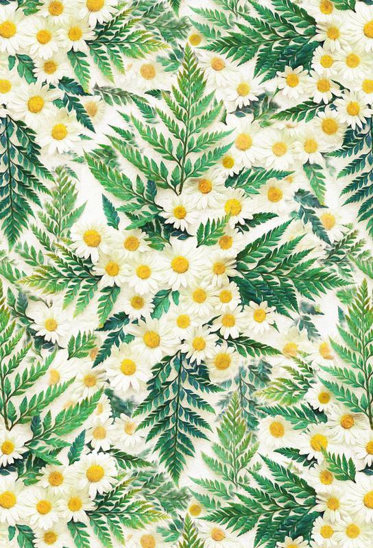 Textured Vintage Daisy And Fern -Alubild