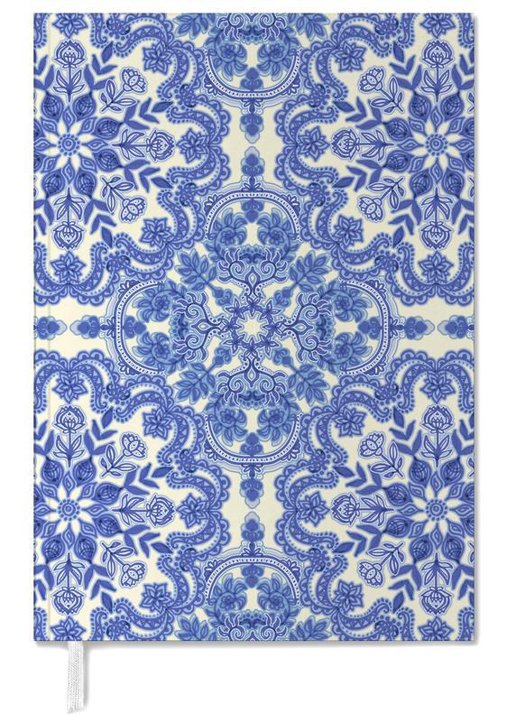 Blue & White Folk Art Pattern -Terminplaner