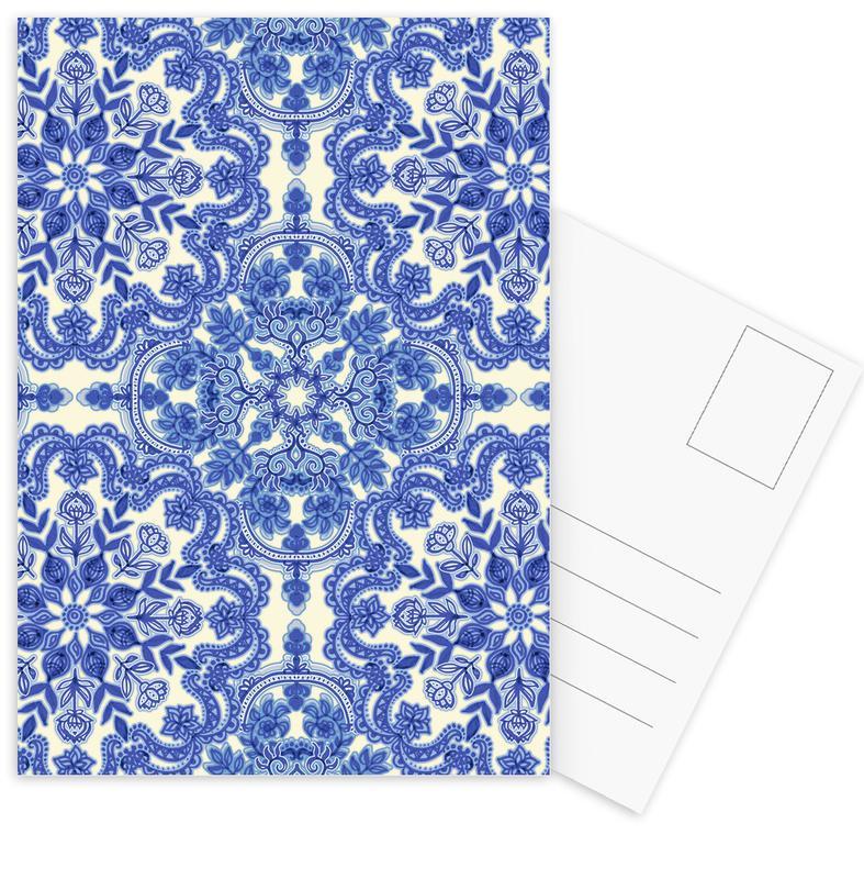 Blue & White Folk Art Pattern -Postkartenset